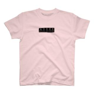 うささんズ 黒プリント T-shirts