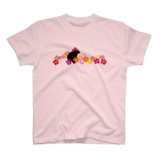 NEW!ハイビスカスクロウサギ T-shirts