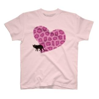 ピンクヒョウ柄ハート T-shirts