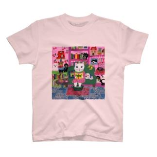ねこと足湯とアイスコーヒー T-shirts