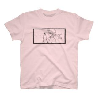 -ウマクナリタイ-キャスケット女子 黒 T-shirts