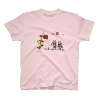 ほっかむねこ屋(アトリエほっかむ)の大きないちご(出会い編) T-shirts