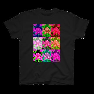 ボールペン画と可愛い動物の薔薇オリジナル Tシャツ