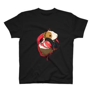 ヘッドフォンモルモット レッド Tシャツ