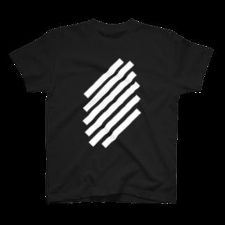 whaisonのSlashWhiteStripe Tシャツ