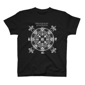 猫召喚魔法陣(白線) Tシャツ