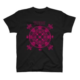 猫召喚魔法陣(ピンク線) Tシャツ
