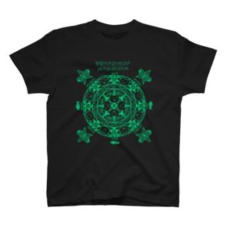 猫召喚魔法陣(緑線) Tシャツ