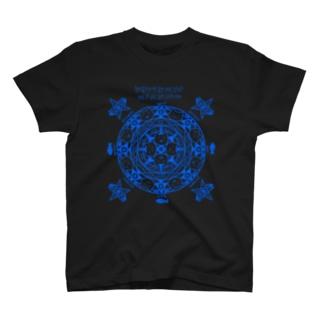 猫召喚魔法陣(青線) Tシャツ