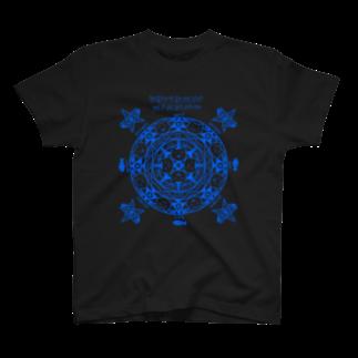 PygmyCat suzuri店の猫召喚魔法陣(青線)Tシャツ