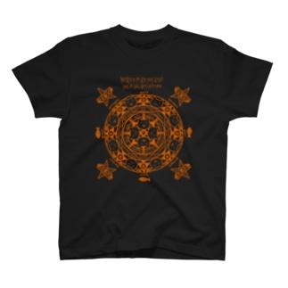 猫召喚魔法陣(オレンジ線) Tシャツ