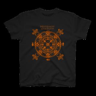 PygmyCat suzuri店の猫召喚魔法陣(オレンジ線)Tシャツ
