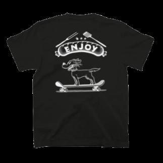 nidan-illustrationのhappy dog #3 -ENJOY- (wite ink) T-shirtsの裏面