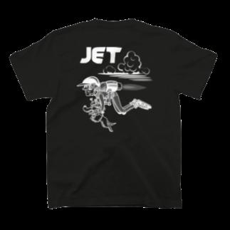 nidan-illustrationのhappy dog #4 -JET- (white ink) T-shirtsの裏面