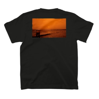 Beach on the back orange  T-shirts