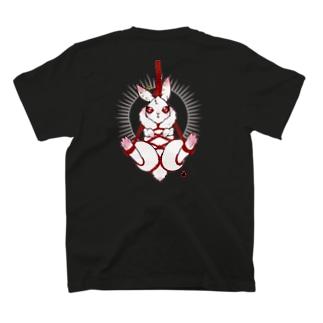 【背面】吊り緊縛ウサギ白 T-shirts
