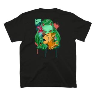 地獄で一服ヲ&目デ殺ス ロゴ&バックプリント T-shirts