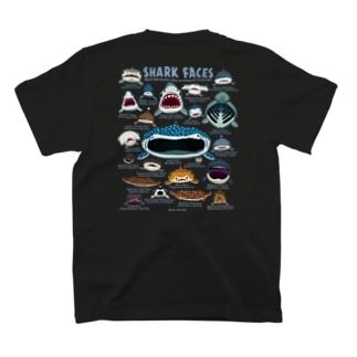 サメカオblackバックプリント T-shirts