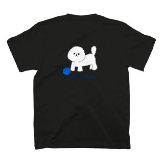 ビションフリーゼ いたずらっ子 毛糸(ブルー)バックプリント T-shirts