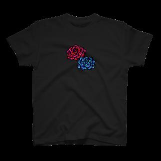 にじのかけらの赤いバラ青い薔薇 T-shirts