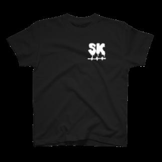 SK Strikethrough(666)のSK Strikethrough(666) Clothing - First Line Black T-shirts