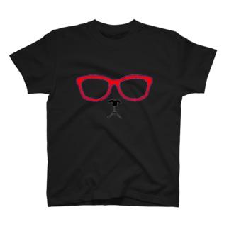 メガネコ 赤 T-shirts