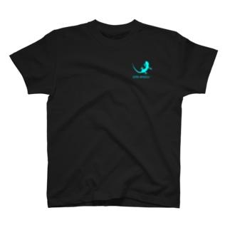 ヤモリ シルエット ロゴ (  ルミナスブルー ) T-shirts