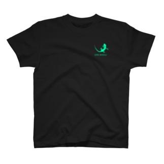 ヤモリ シルエット ロゴ ( ルミナスグリーン ) T-shirts