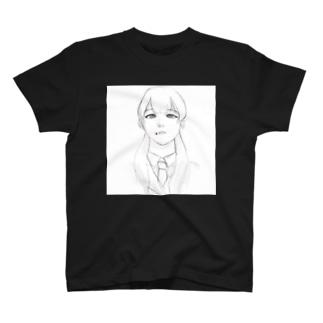 女子高生がタバコ銜えてる落書き T-shirts