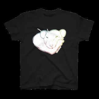 ねずみのおみせ suzuri店のしろちゃんと一緒に筋トレしよう(虹色グラデ) T-shirts