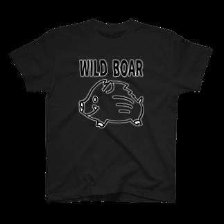 はまだまいこ 絵のお店の「WILD BOAR」(黒線白ふち) T-shirts