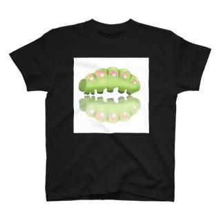 いもむしりっぷ(緑)黒 T-shirts
