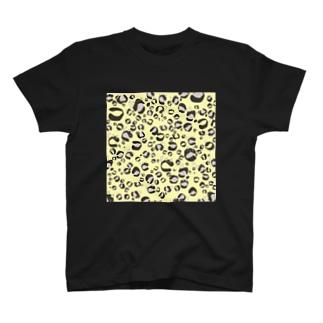 ひょう柄猫ちゃんイエロー T-shirts
