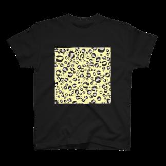 イラストレーター yasijunのひょう柄猫ちゃんイエロー T-shirts
