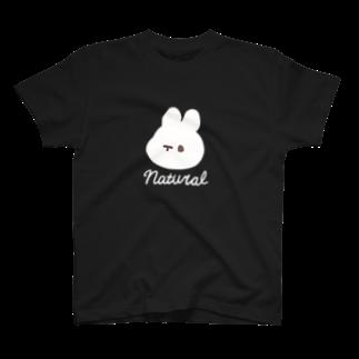 くぅもんせのお店のナチュラルうさぎ T-shirts