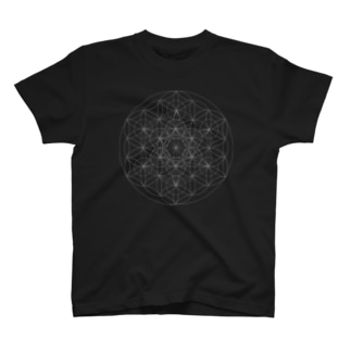 フラワー・オブ・ライフ& メタトロンキューブ(wh) T-Shirt