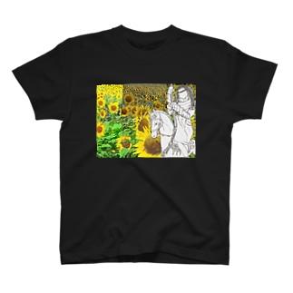 メリゴーランドと女の子とひまわり T-shirts