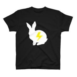 Tシャツ黒ベース うさぎver T-shirts