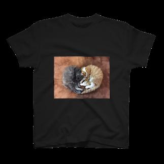ネコまにあ 【12匹の猫➕うずら】の@suzukotegin   そうすけ&はな ハート T-shirts
