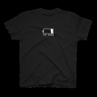 シンプル大好きの電池切れでお疲れ状態(WHITE_LOGO) T-shirts