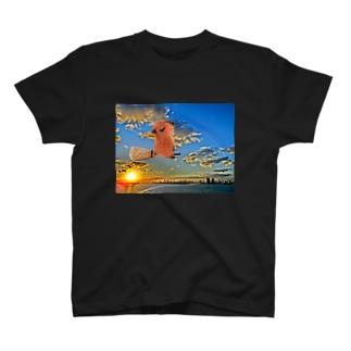 空飛ぶカピバラさん T-shirts