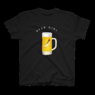cranes designのBEER GIRL ビール女子 T-shirts