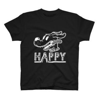 nidan-illustrationのhappy dog #1 (white ink) T-shirts
