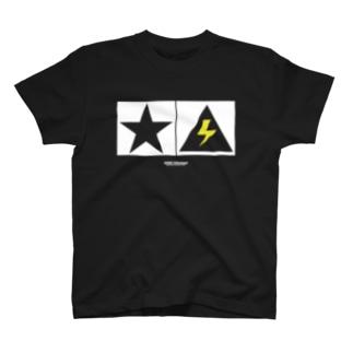 Thunder and Star 黒 T-shirts