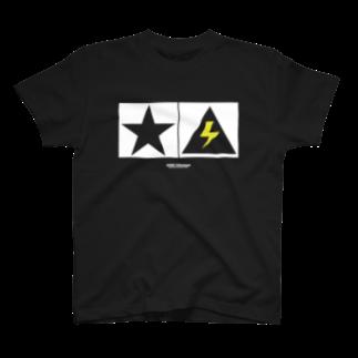 highvoltagewearsのThunder and Star 黒 T-shirts