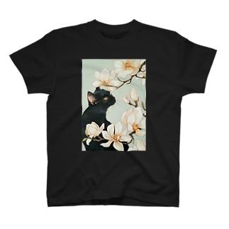 白木蓮と黒猫 T-shirts