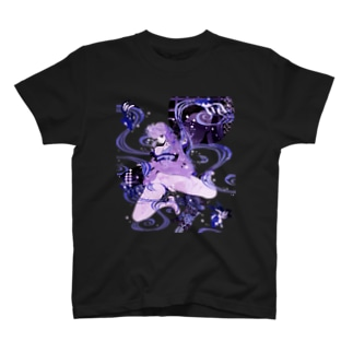 和柄 青の金魚姫3 藤紫 キモノガール T-shirts