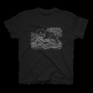はまだまいこ 絵のお店の「ふゆゆんとぼさいのの食卓」 T-shirts