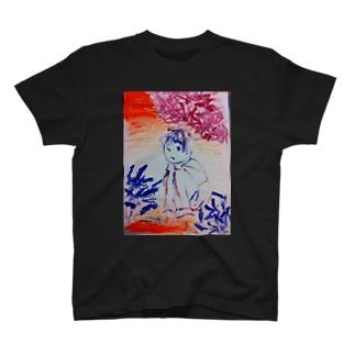 隠れてる少女(イラスト 絵の具 女の子)ふっふ T-shirts