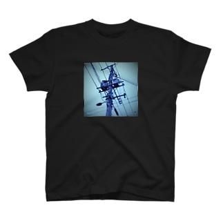 電柱(青) T-shirts